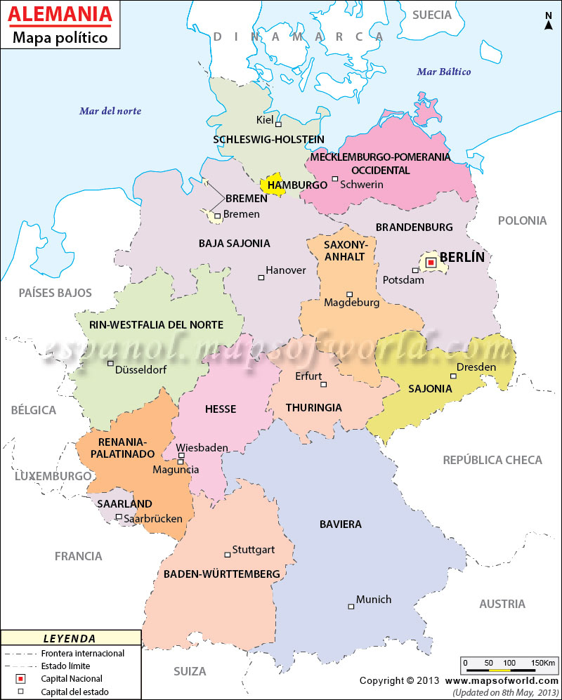 Mapa De Alemania Politico.Mapa Politico De Alemania Mapa De Alemania