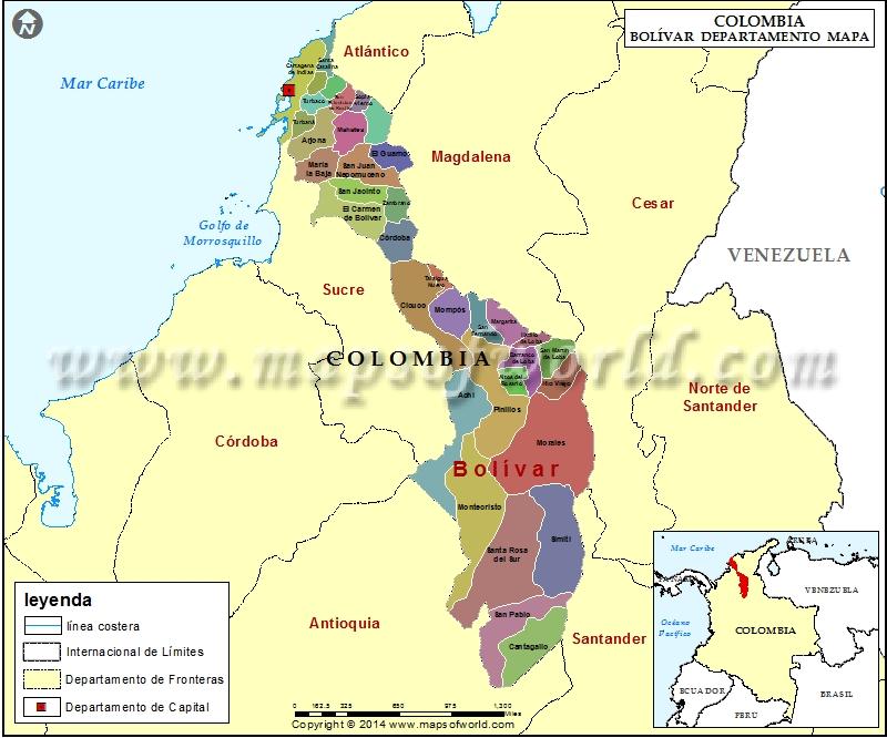 Mapa del Departamento de Bolivar