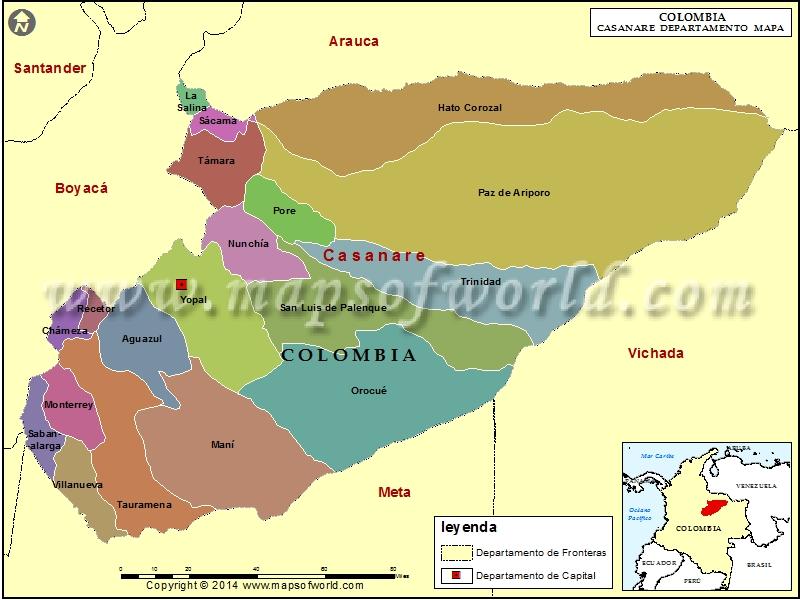 Mapa de Casanare  Departamento de Casanare