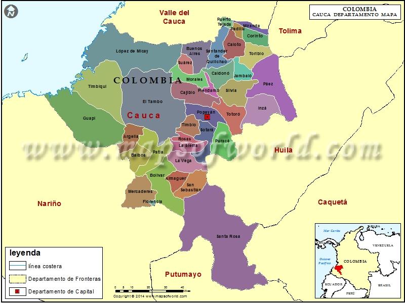 Mapa de Cauca