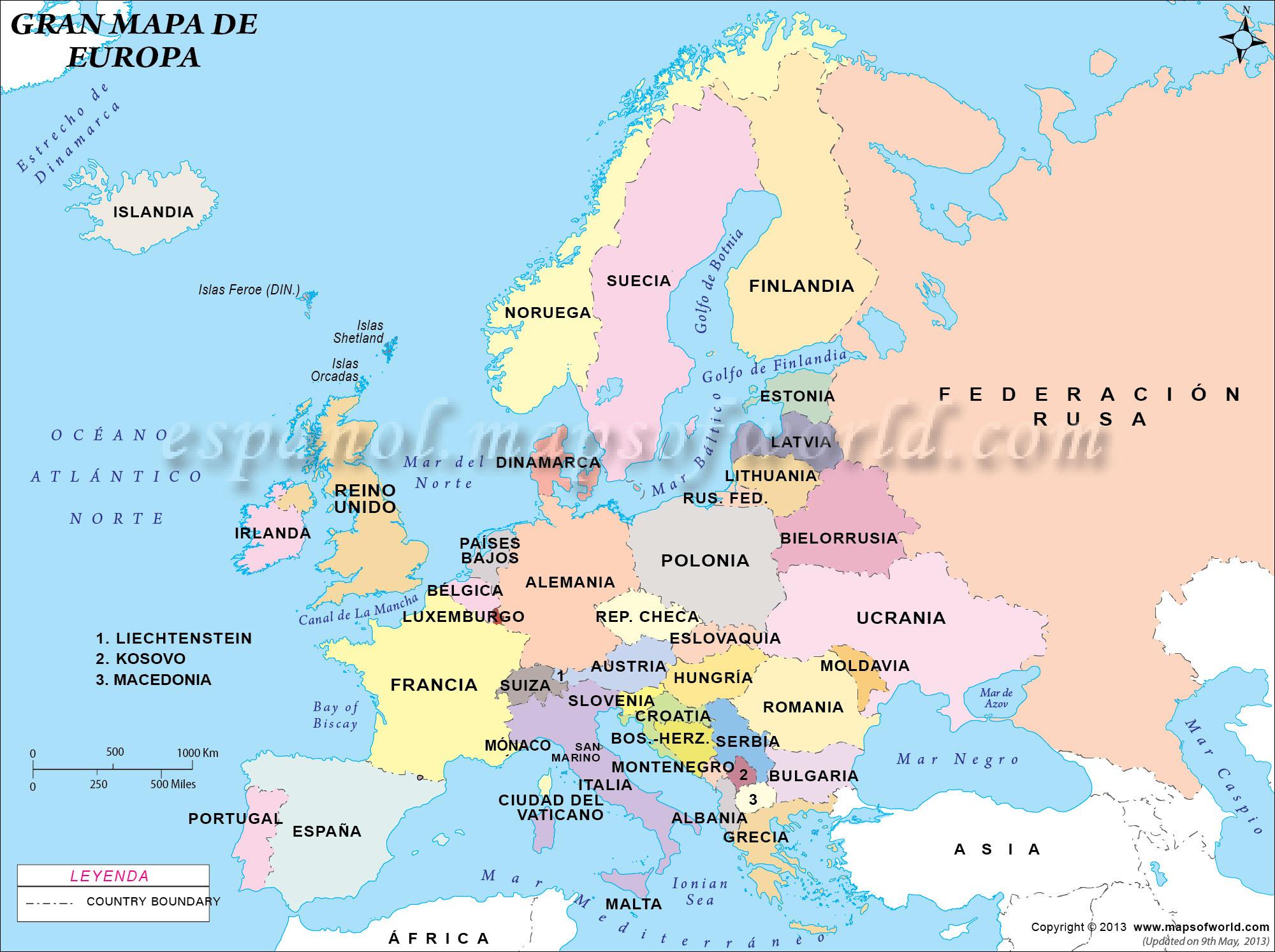 Mapa de Europa en Español Grande