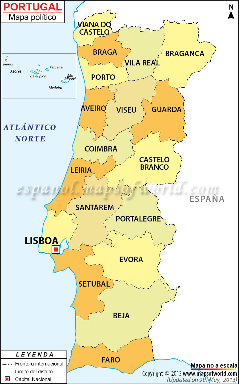 Norte De Portugal Mapa.Portugal Mapa Mapa De Portugal
