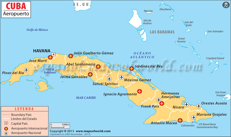 Aeropuerto de Cuba Mapa