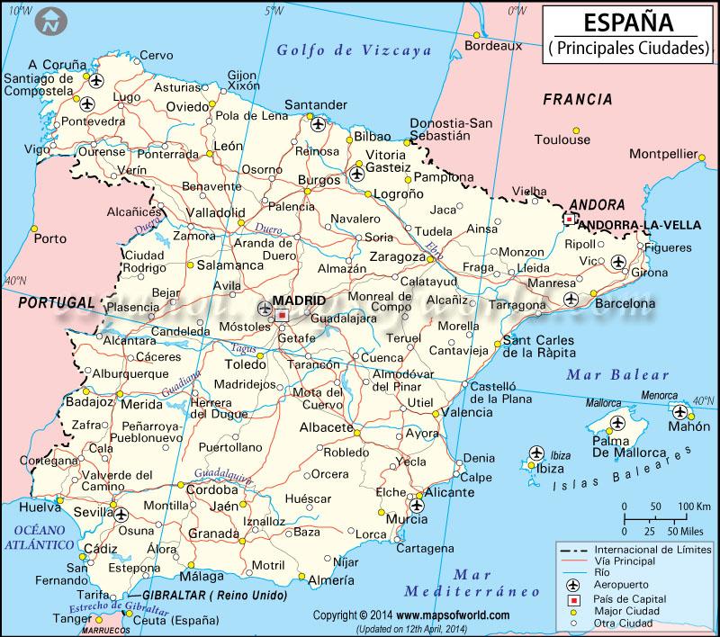 Ciudades de Espaa  Mapa de Espaa Ciudades