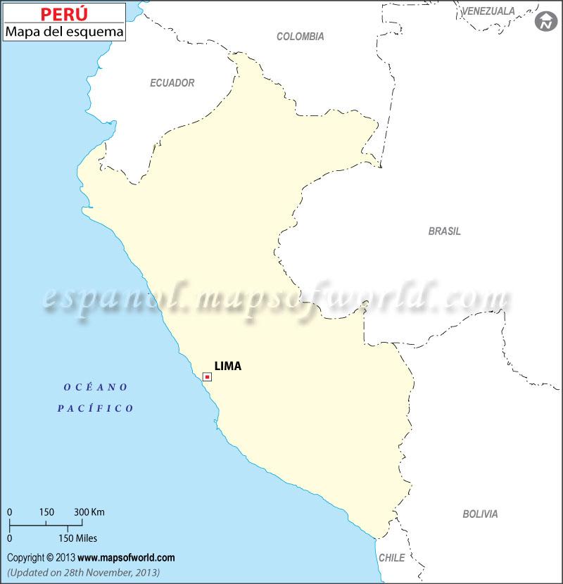 Mapa del Peru en Blanco