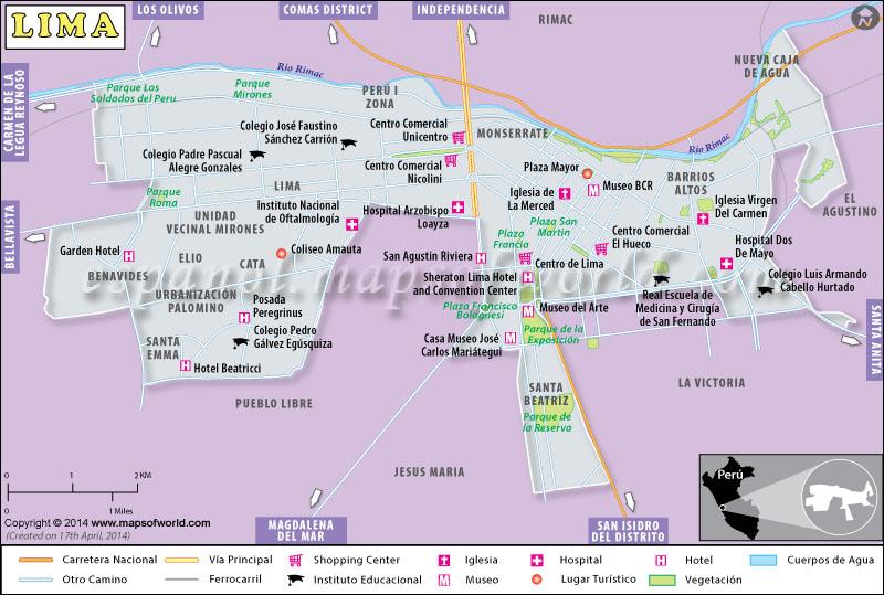 Mapa de Lima  Mapa Lima  Capital de Peru