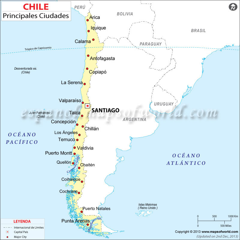 Chile Ciudades Mapa