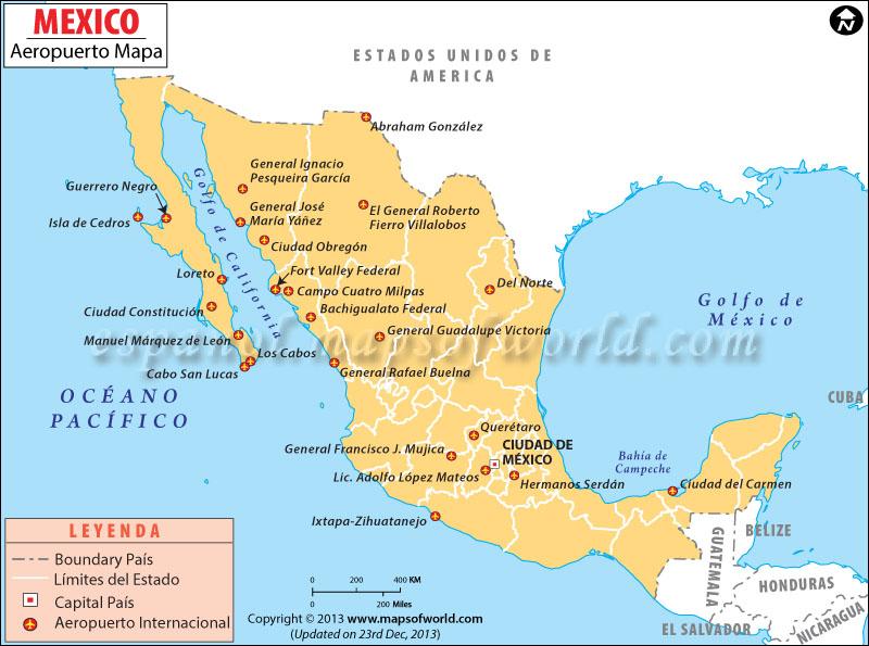 Mapa de Aeropuertos de Mexico
