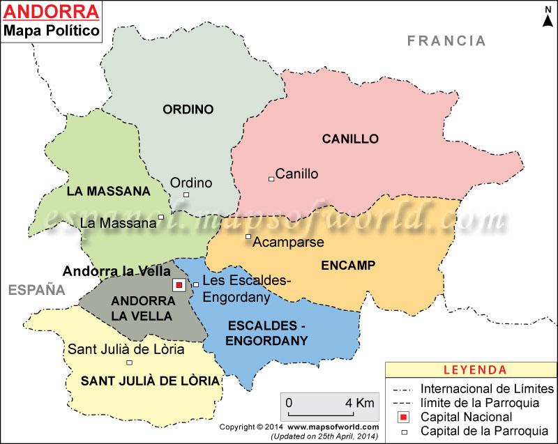 Mapa Andorra  Mapa de Andorra