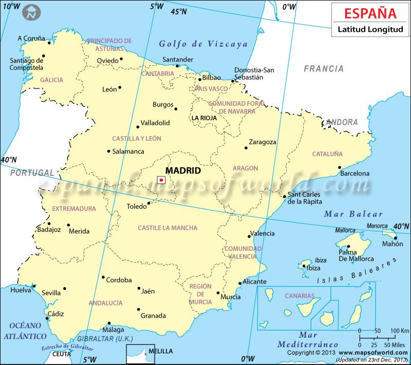 Mapa Latitud y Longitud de España