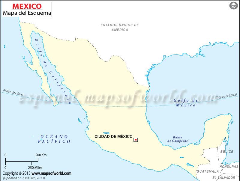 Mapa de Mexico en Blanco