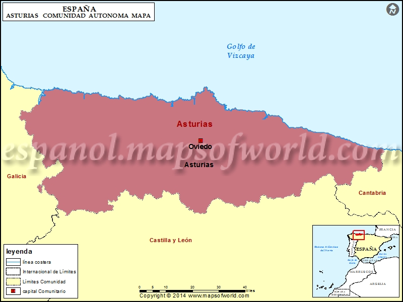 Mapa De Asturias Principado De Asturias España