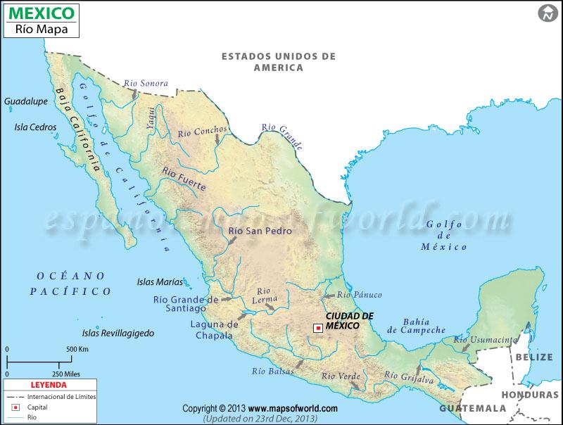 Mapa de Rios de Mexico