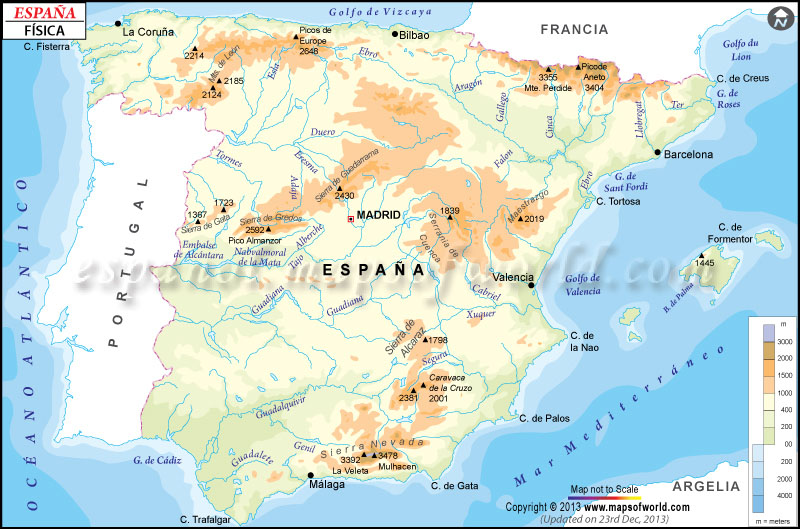 Mapa Fisico de Espana