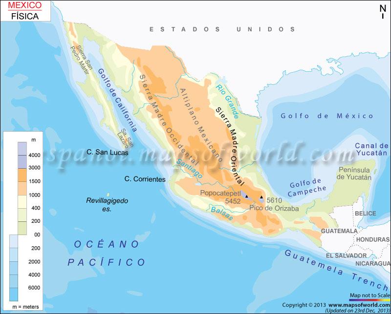 Mapa Fisico de Mexico