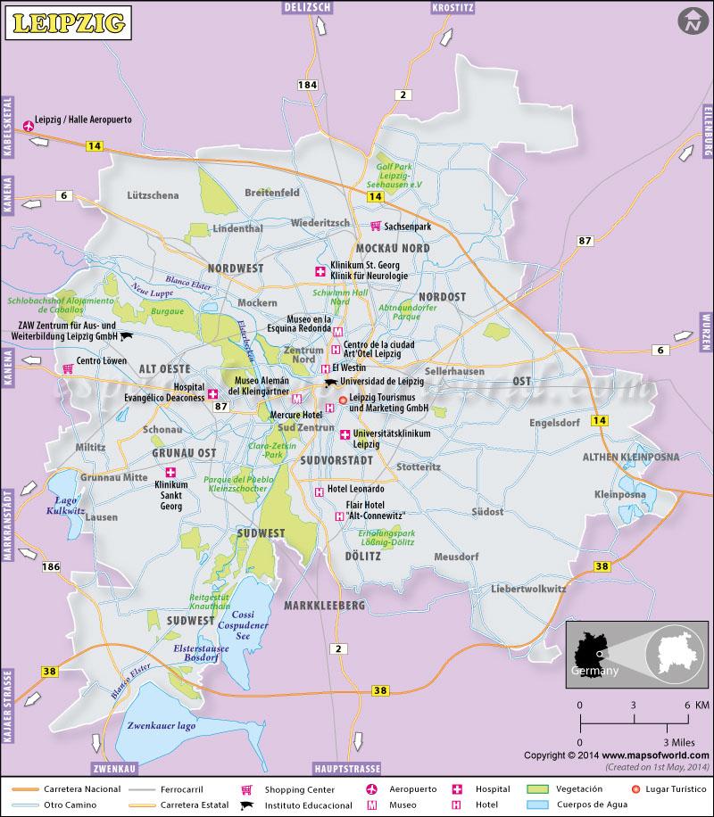 Mapa Leipzig