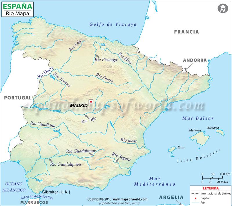 Mapa Rios de Espana