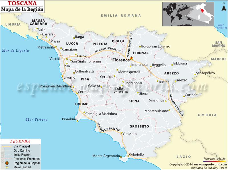 La Toscana Italia Mapa.Mapa Toscana
