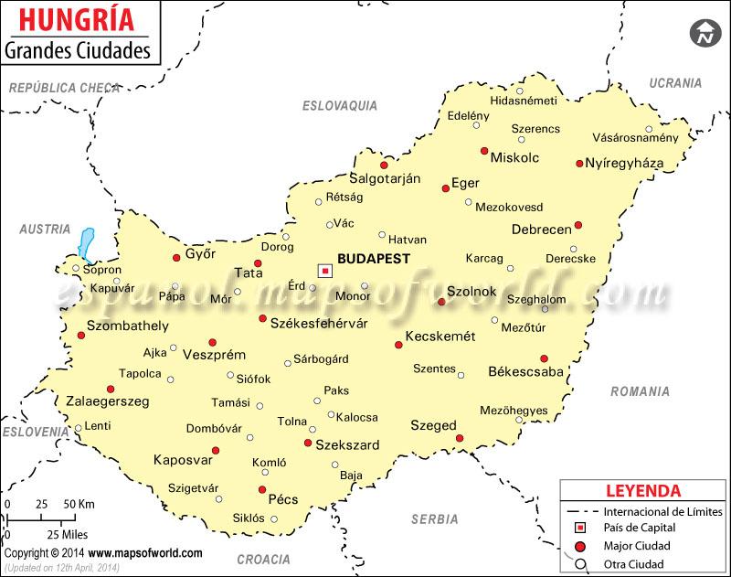 Ciudades de Hungria Mapa