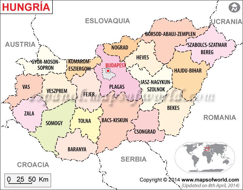 Hungria Mapa