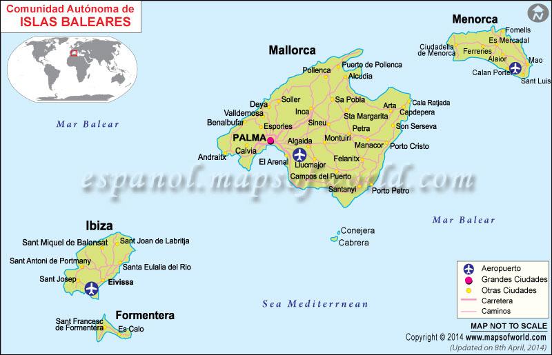 Islas baleares mapa islas baleares espa a - Islas de baleares ...