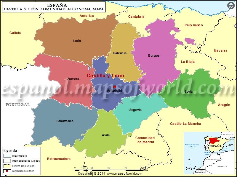 Mapa Castilla Y Leon En Blanco.Mapa Castilla Y Leon Mapa De Castilla Y Leon Espana