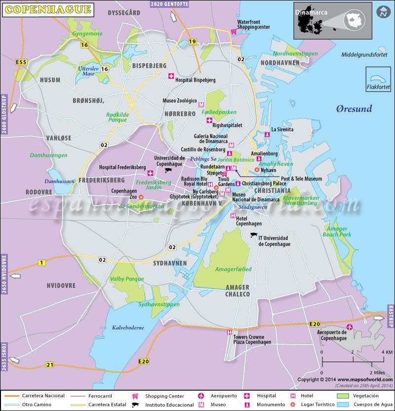 Mapa De Copenhague Capital De Dinamarca