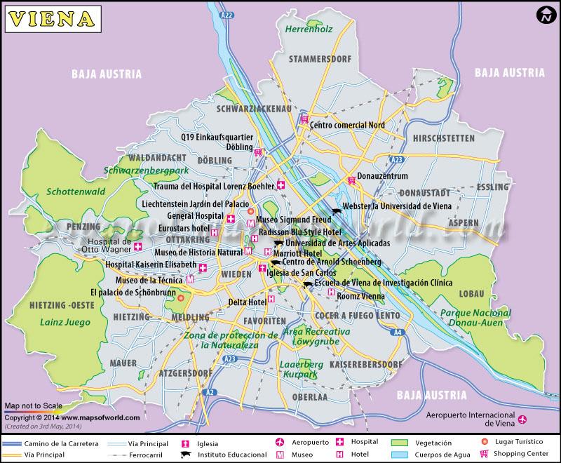 Mapa De Viena Capital De Austria Viena
