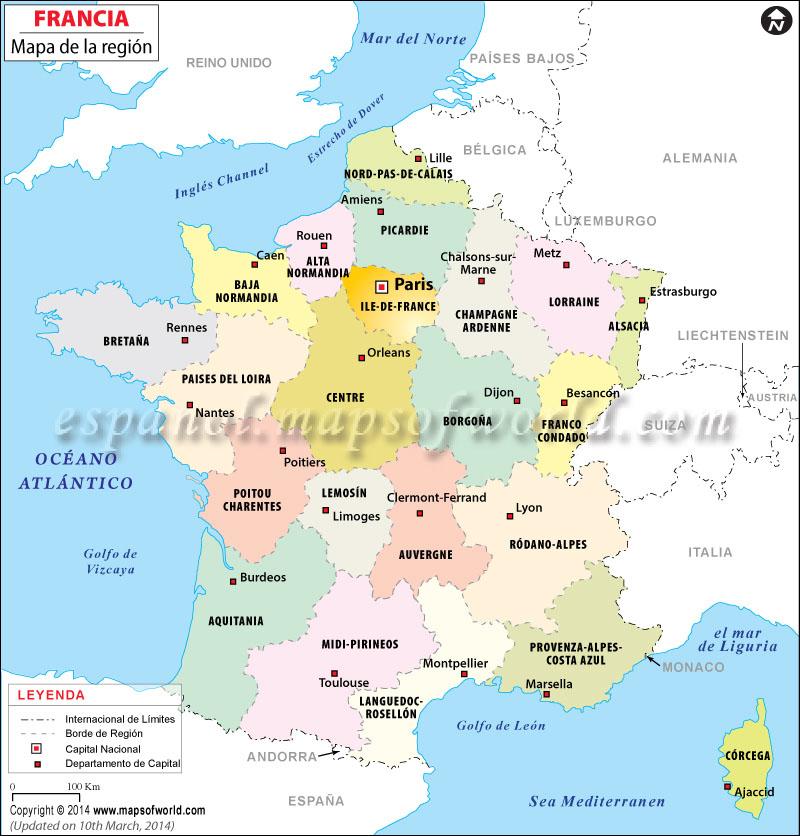 Mapa de Francia por Regiones