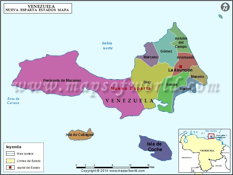 Mapa de Nueva Esparta
