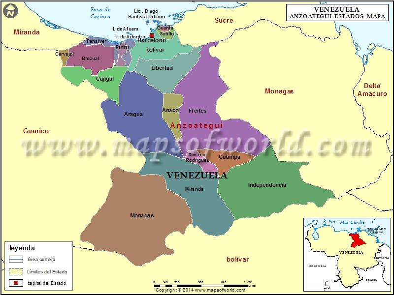 Mapa del Estado Anzoategui