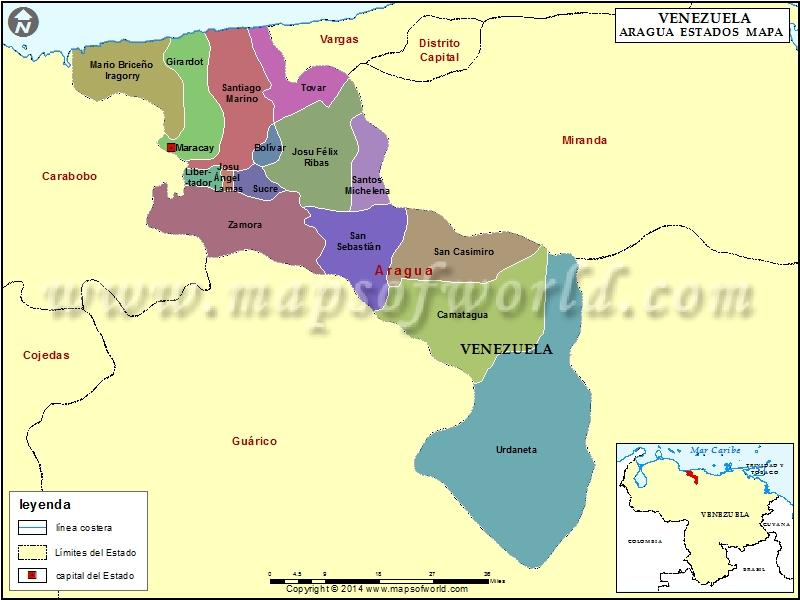 Mapa del Estado Aragua