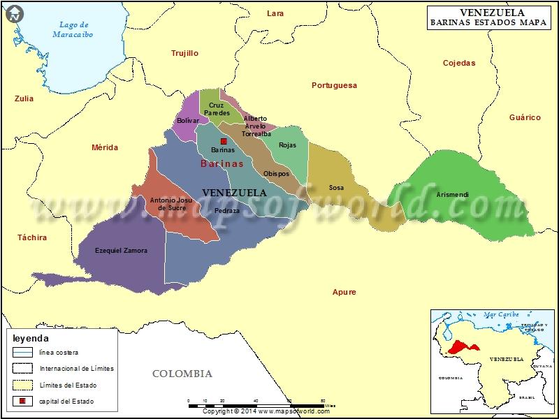 Mapa del Estado Barinas