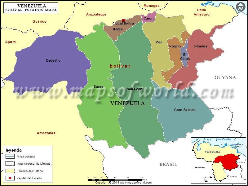 Mapa del Estado Bolivar
