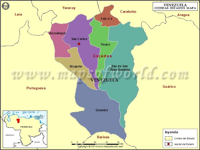 Mapa del Estado Cojedes