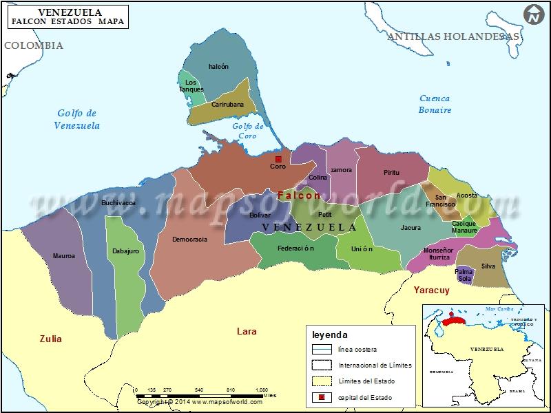 Mapa del Estado Falcon