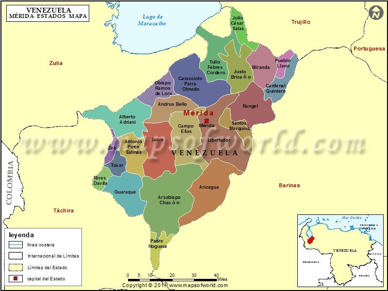 Mapa del Estado Merida