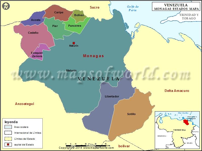 Mapa del Estado Monagas