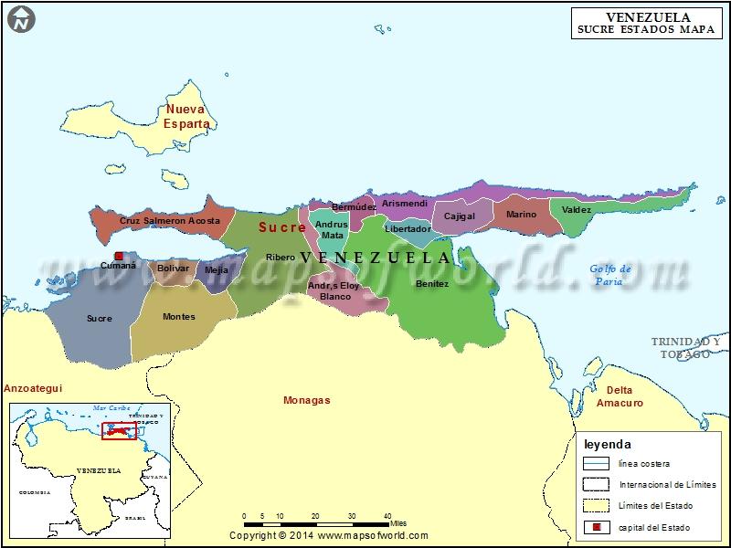 Mapa del Estado Sucre