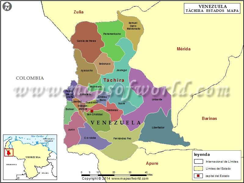 Mapa del Estado Tachira  Mapa Estado Tachira Venezuela