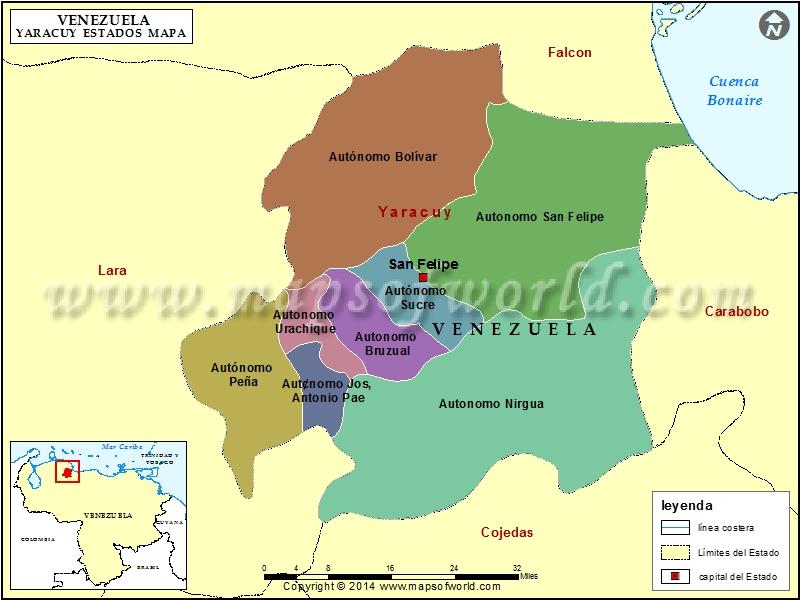 Mapa del Estado Yaracuy