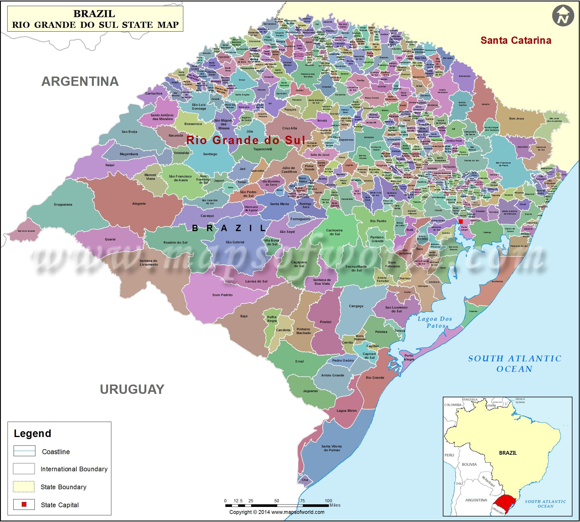 Rio Grande Mapa Fisico.Mapa Rio Grande Do Sul Rio Grande Do Sul Brasil