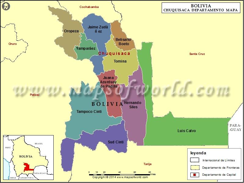 Mapa De Chuquisaca Departamento De Chuquisaca Bolivia
