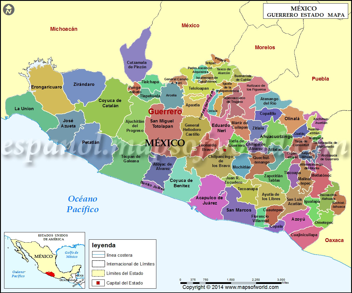 Mapa de Guerrero  Estado de Guerrero Mexico