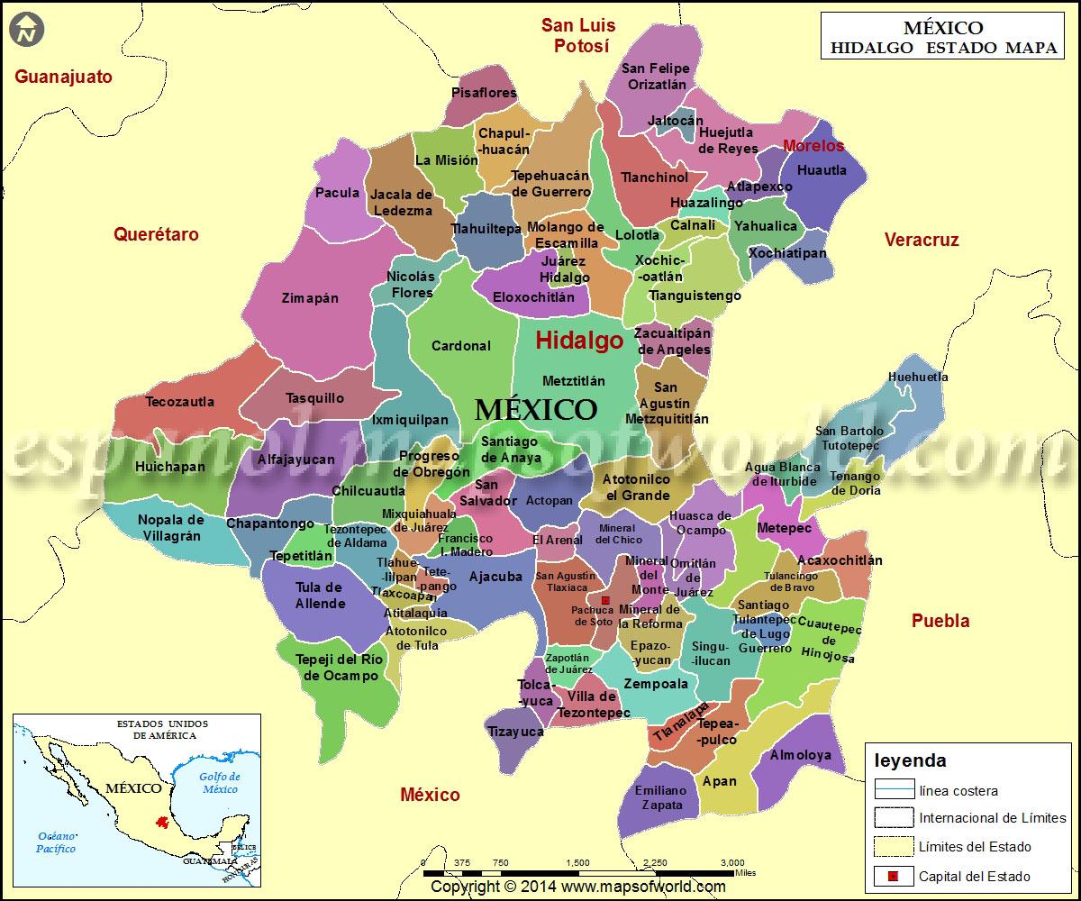 Mapa De Hidalgo Estado De Hidalgo Mexico