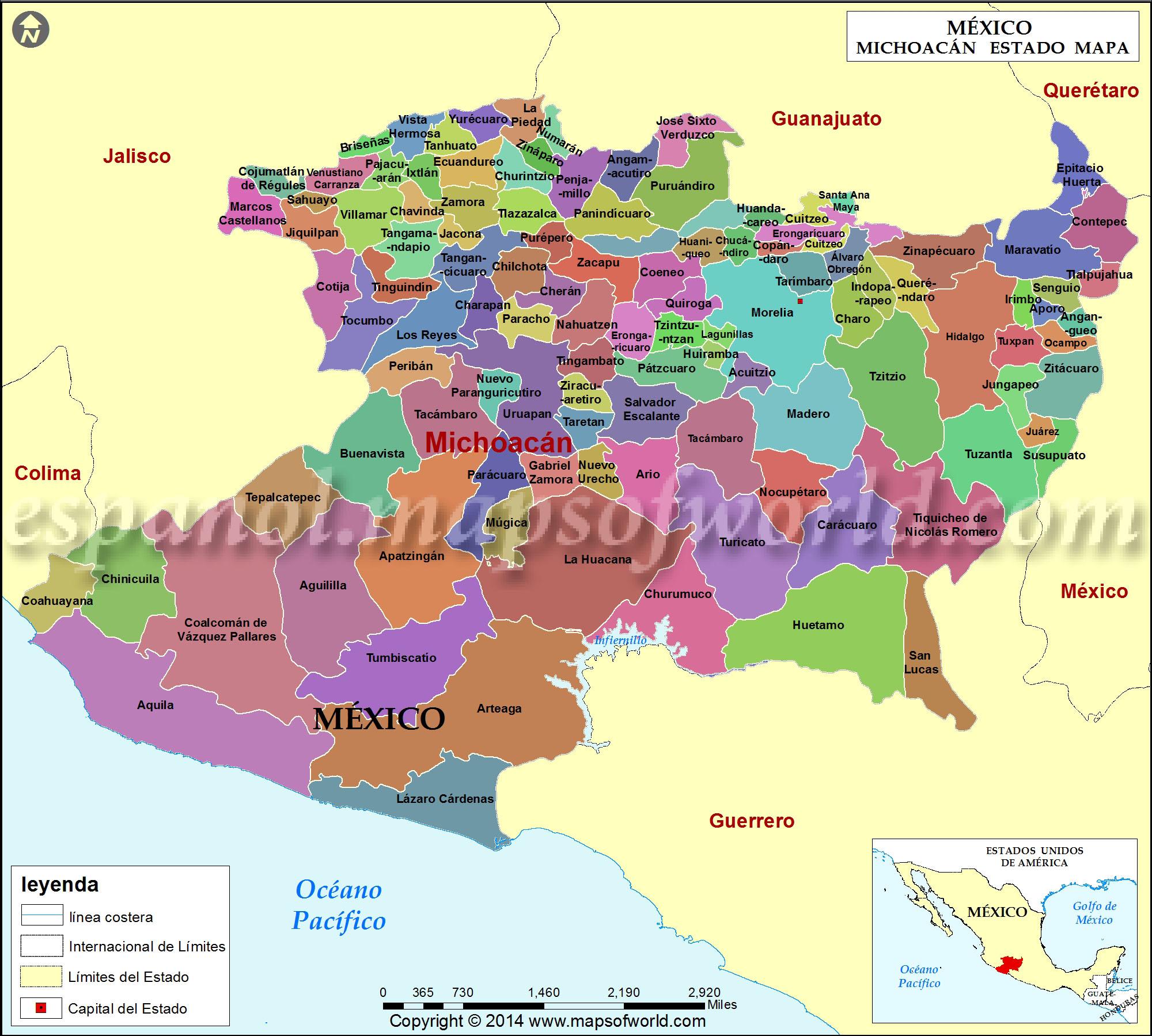 Mapa De Michoacan Estado De Michoacan Mexico