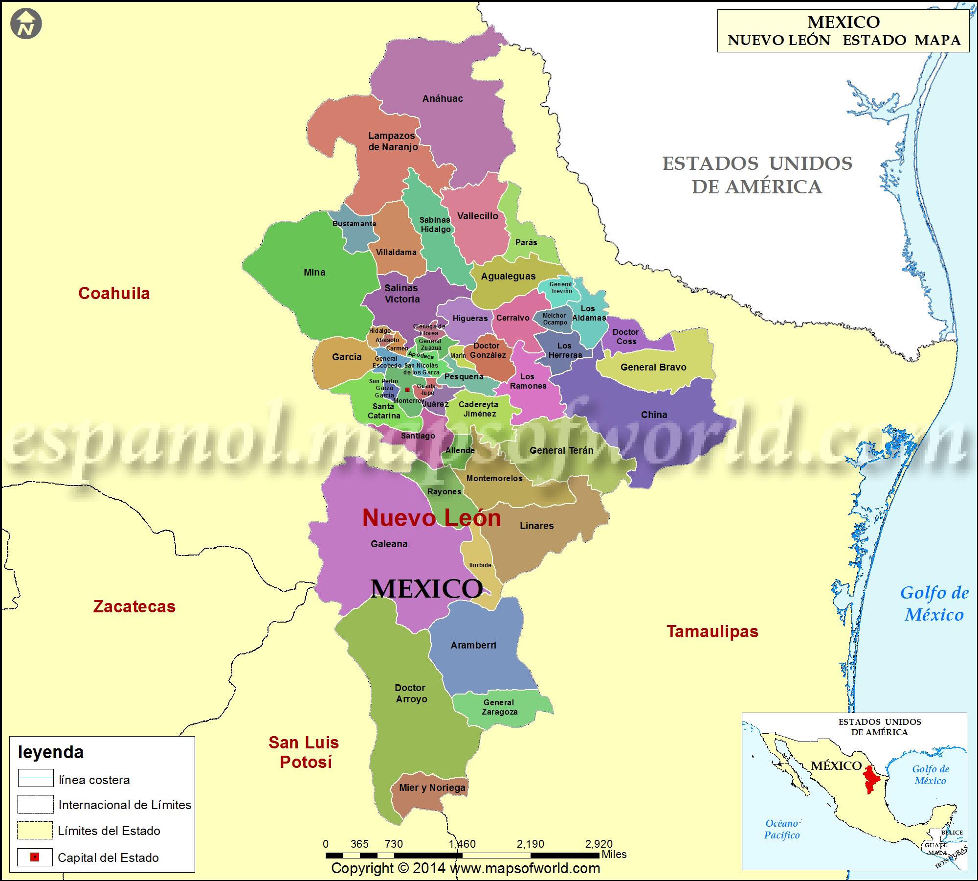 Mapa De Nuevo Leon Estado De Nuevo Leon Mexico