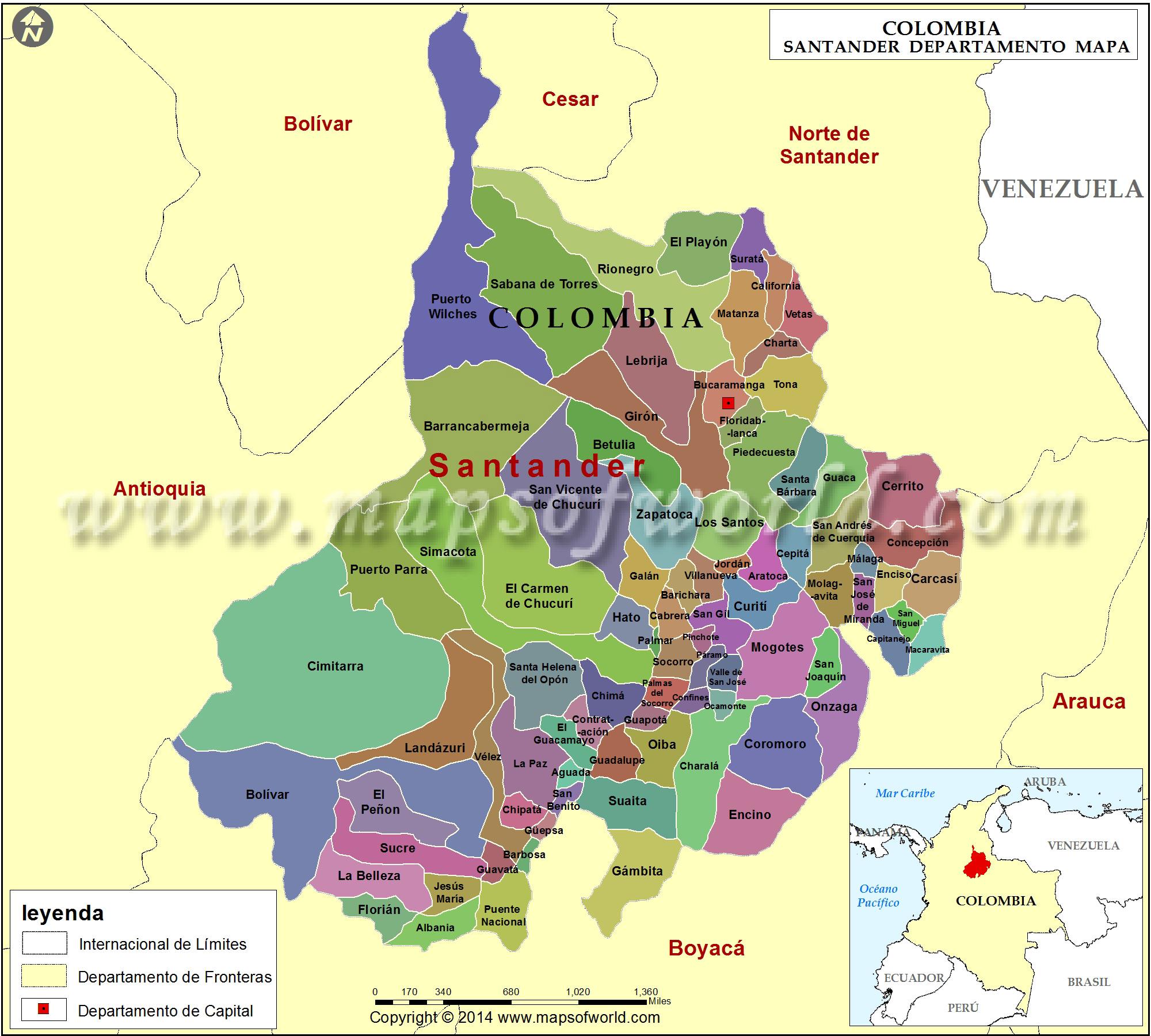 Mapa de santander colombia departamento de santander for Mapa santander sucursales