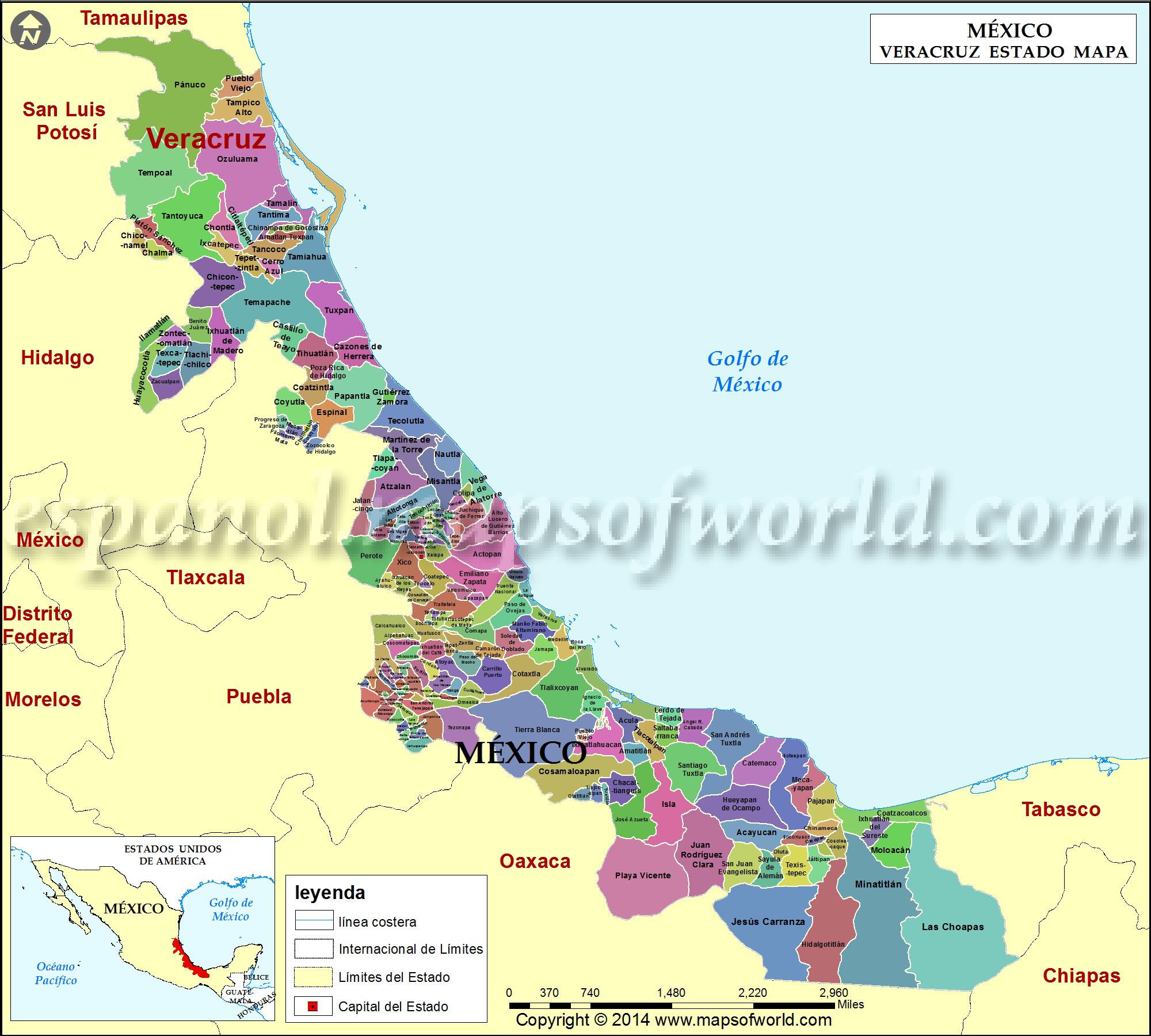 Mapa de Veracruz  Estado de Veracruz Mexico