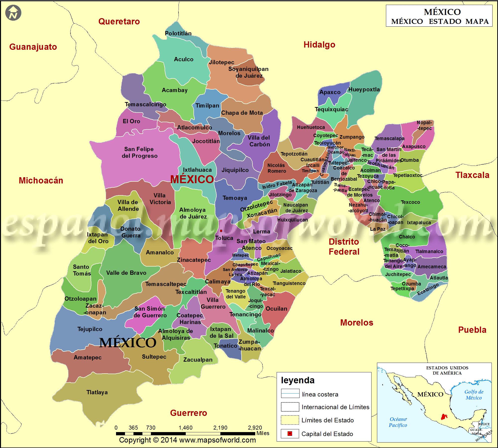 Estados De Mexico Mapa.Mapa Del Estado De Mexico Mapa De Estado De Mexico